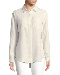 e1982ffeeb3ad Lord   Taylor Petite Tiffany Crinkle Linen Button-down Shirt in Blue ...