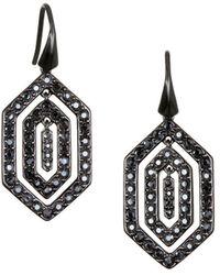 Karl Lagerfeld - Black Deco Swarovski Crystals Drop Earrings - Lyst