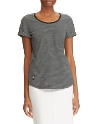 Lauren by Ralph Lauren - Striped Logo Patch Cotton Tee - Lyst
