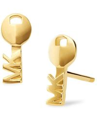 Michael Kors - Custom Kors 14k Goldplated Logo Key Stud Earrings - Lyst