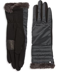 Lauren by Ralph Lauren - Faux Fur-trimmed Puffer Gloves - Lyst