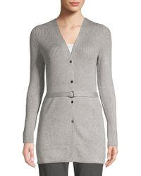 Ellen Tracy - Belted Rib-knit Cardigan - Lyst