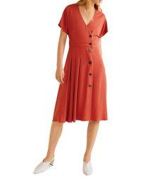 Mango - Textured Button-front Dress - Lyst