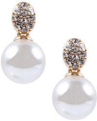Anne Klein - Crystallized Pearl Drop Earrings - Lyst
