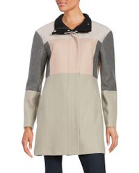 Ivanka Trump Colorblock Wool Blend Coat