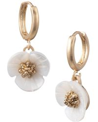 Lonna & Lilly - 3d Flower Drop Earrings - Lyst