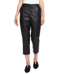 1.STATE - Cropped Faux Leather Trousers - Lyst