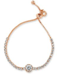 Anne Klein Cubic Zirconia And Crystal Slider Bracelet - Metallic