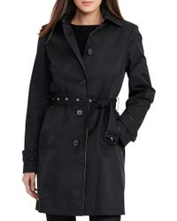 Lauren by Ralph Lauren - Faux-leather-trim Trench Coat - Lyst
