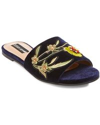Lord & Taylor - Fleur Embroidered Velvet Sandals - Lyst