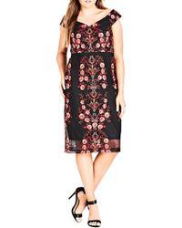 City Chic - Plus Sweet Lolita Floral Printed Dress - Lyst