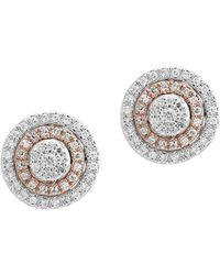 Effy 0.38 Tcw Diamond And 14k White And Rose Gold Stud Earrings