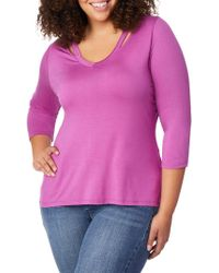 REBEL WILSON X ANGELS - Plus Cut-out V-neck Top - Lyst