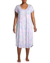Miss Elaine - Plus Ruffled Floral-print Nightgown - Lyst