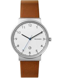 Skagen - Ancher Titanium Leather-strap Watch - Lyst