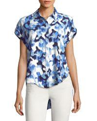 Jones New York - Floral Hi-lo Buttoned Top - Lyst