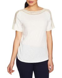Chaus - Mosaic Blossoms Trimmed Top - Lyst