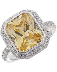 Michela - Pave Accented Solitaire Ring - Lyst