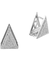 CZ by Kenneth Jay Lane Pave Cubic Zirconia Double Triangle Earrings - Metallic