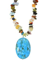 Lord & Taylor - Sterling Silver And Chrysocolla Pendant Chip Necklace - Lyst