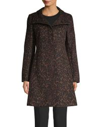 Via Spiga Leopard Printed A-line Coat