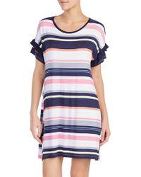 Kensie - Ruffled Striped Sleepshirt - Lyst