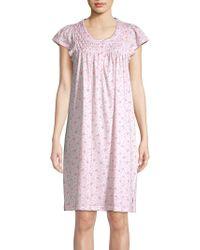 Miss Elaine - Floral-print Cap-sleeve Sleepshirt - Lyst