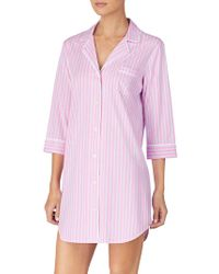 Lauren by Ralph Lauren - Striped Cotton Button-down Sleepshirt - Lyst