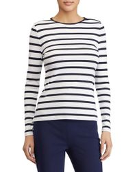 Lauren by Ralph Lauren - Striped Button-shoulder Top - Lyst