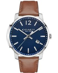 COACH - Bleecker Stainless Steel Leather Strap Watch - Lyst