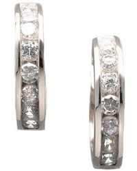 Lord & Taylor - Sterling Silver And Channel Set Cubic Zirconia Huggie Hoop Earrings - Lyst