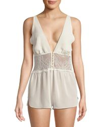 bdc7339203 Rya Collection - Chantilly Lace Chiffon Romper - Lyst
