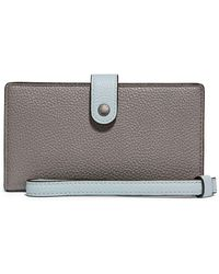 cdaaadb1dfd4 Lyst - Coach Double Zip Wallet In Polished Pebble Leather in Brown