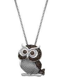 Lord + Taylor - Sterling Silver Smokey Quartz Owl Pendant Necklace - Lyst