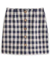 Mango Gingham Linen Buttoned Mini Skirt - Blue