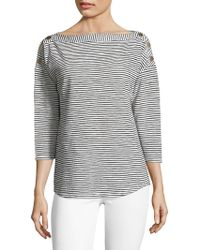 Jones New York - Striped Boatneck Top - Lyst