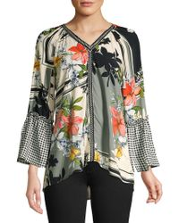 Spense Bell-sleeve Collage Blouse
