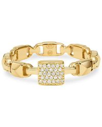 Michael Kors - Marcer Link 14k Gold-plated And Crystal Ring - Lyst