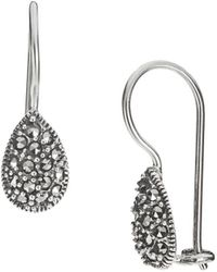 Lord & Taylor - Sterling Silver And Marcasite Teardrop Earrings - Lyst