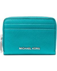 MICHAEL Michael Kors - Zip-around Leather Card Case - Lyst