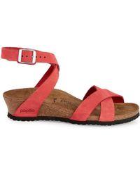 a52494813 Birkenstock - Lola Nubuck Strappy Wedge Sandals - Lyst