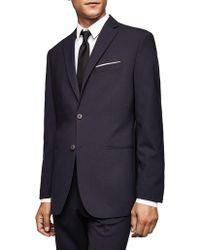 Mango Slim-fit Wool Suit Jacket - Blue
