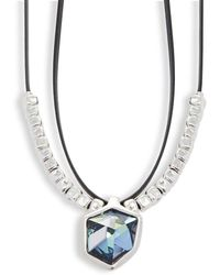 Uno De 50 - Swarovski Elements Crystal And Leather Necklace - Lyst