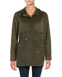 Vince Camuto - Hooded Faux Suede Anorak Jacket - Lyst