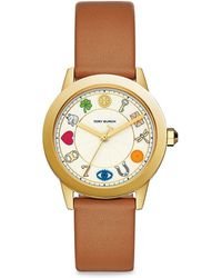 Tory Burch - Gigi Illustrated Gold-tone Leather Watch - Lyst