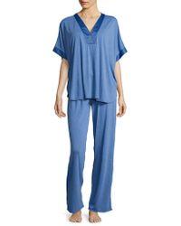 N Natori - Satin-trimmed Jersey Knit Pyjama Set - Lyst