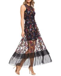 Dress the Population - Gina Embroidered Illusion Dress - Lyst