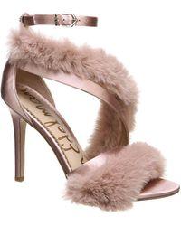 7a65795df4f Sam Edelman - Orient Express Adelle Strappy Faux Fur Sandals - Lyst