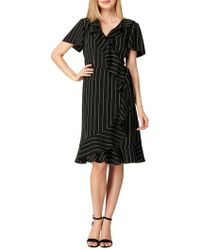 Tahari - Pinstripe Ruffle Faux Wrap Dress - Lyst