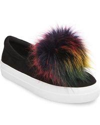 Steve Madden | Great Faux Fur Pom Pom Slip-on Sneakers | Lyst